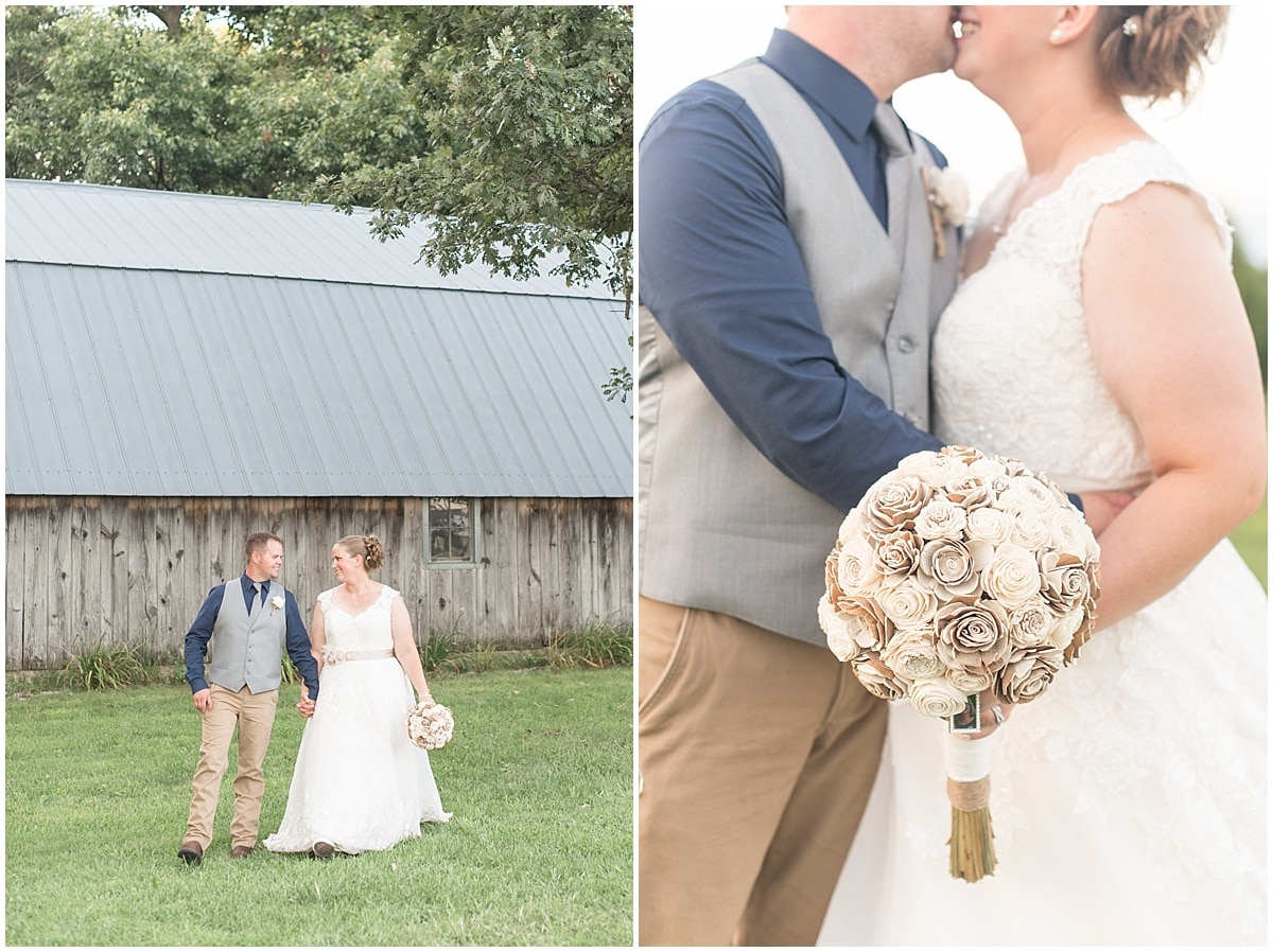 Derek Cook and Katie Pitts celebrated their wedding at Cosgray Christmas Tree Farm in Idaville, Indiana.