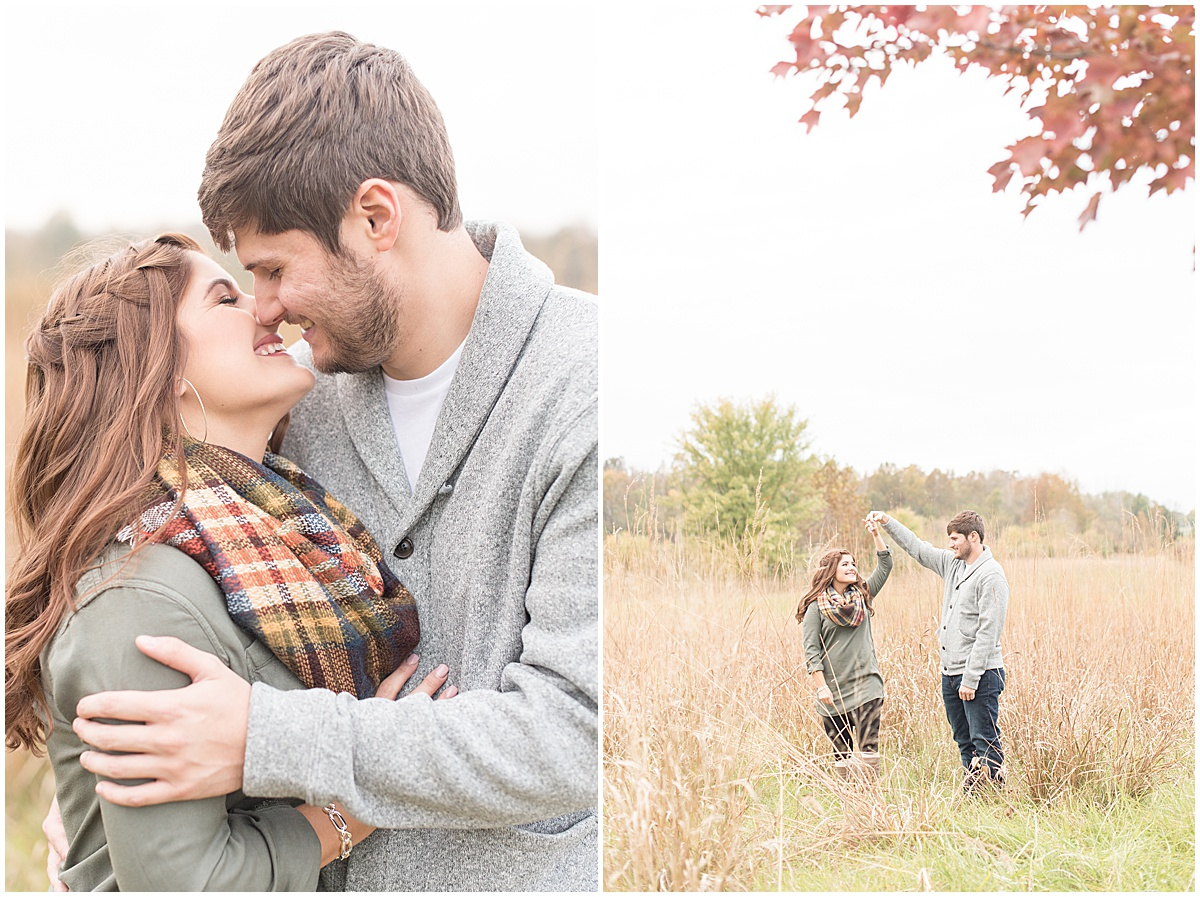 Logan Dexter and Becky Biancardi fall engagement photos at Fairfield Lakes Park in Lafayette Indiana 23.jpg